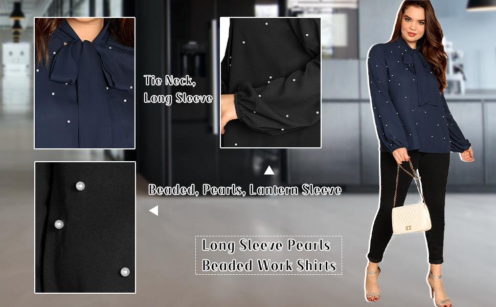 Pearl Beaded Long Sleeves Shirts