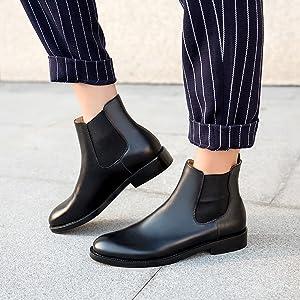 black leather chelsea boots women flat