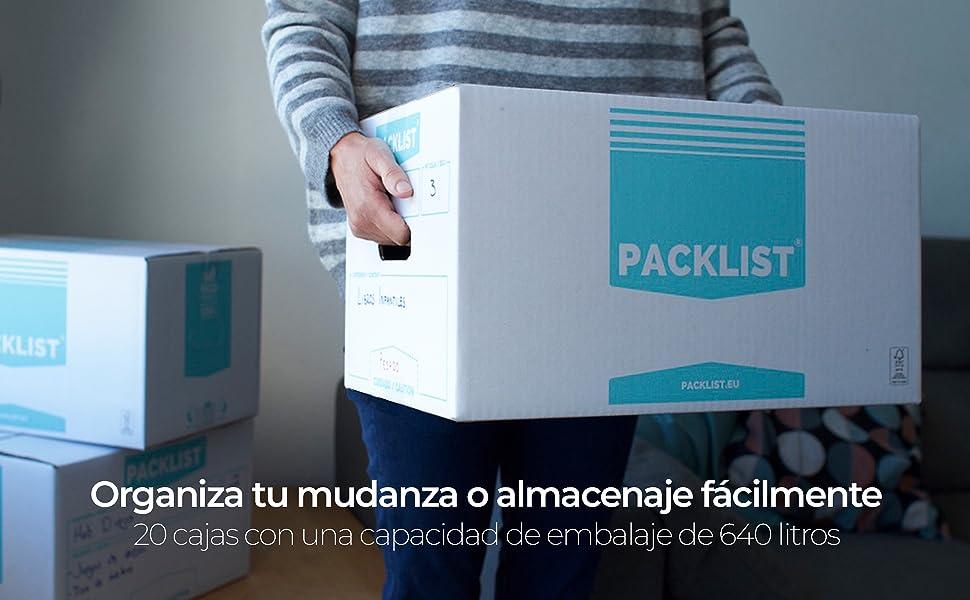 PACKLIST 20 Cajas Cartón Mudanza Personalizables y Resistentes con ...