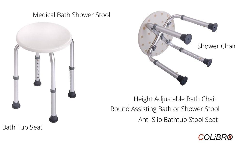 Height Adjustable Medical Bath Shower Stool Chair Bath Tub Seat Adjustable Round Assisting Bath