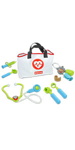 Kidzlane doctor kit with carrying bag pretend doctor set for kids doctor dress up doctor toys age 3+
