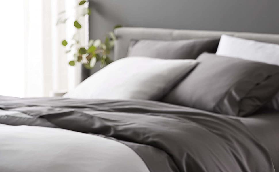bamboo viscose lyocell sheet duvet cover white slate grey queen king hot sleeper silky soft cooling