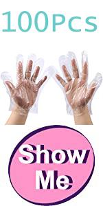 100Pcs Plastic Disposable Polyethylene Clear Gloves