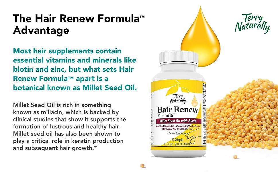 hair formula, hair supplement, biotin, zinc, millet seed oil, miliacin, keratin, hair growth