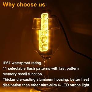 IP67 waterproof ultra-slim high intensity amber LED flashing warning light