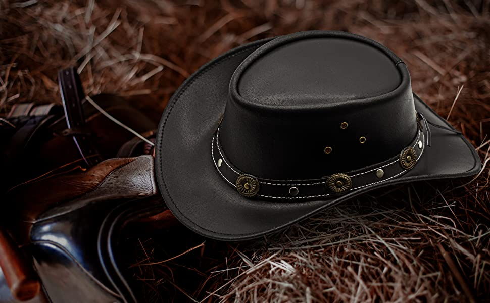 Western Style Outback Leather Cowboy hat for Men amp; Women