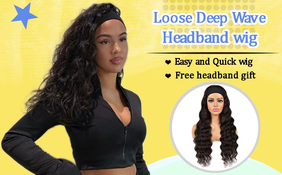 headband wig human hair for black women