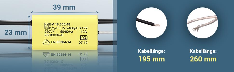Longueur du câble : 195 mm.