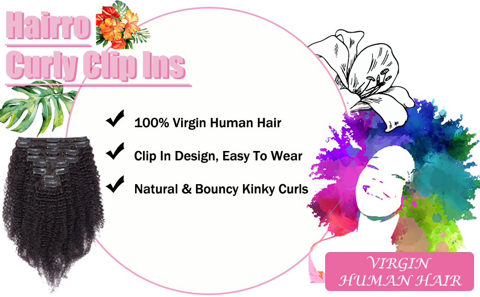 CLIP IN KINKY CURLY HUMAN HAIR EXTENSIONS