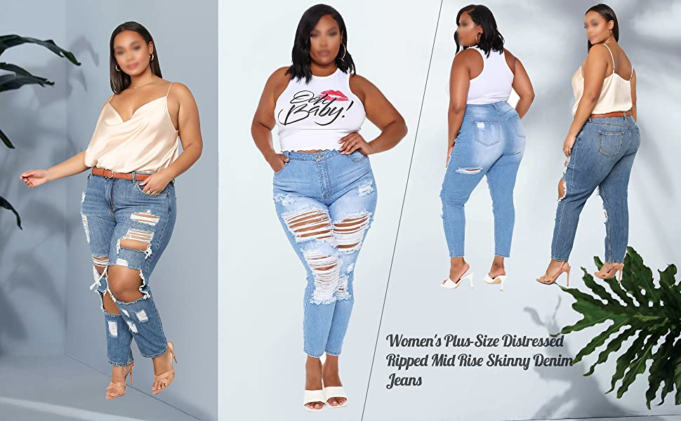 Women's Plus-Size Distressed Ripped  Jeans