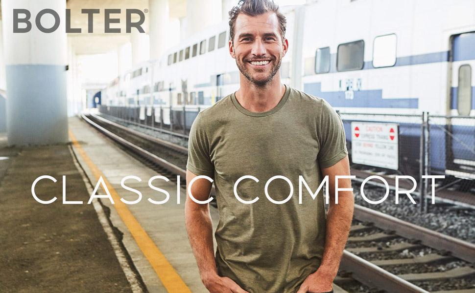 crew neck crewneck mens tshirt t shirt t-shirt short sleeve casual comfortable classic bolter man