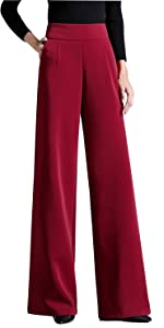 Women High Rise Bottom Straigh Flare Palazzo Wide Leg Pants with Pockets