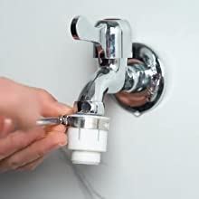 fasten the adapter to the faucet