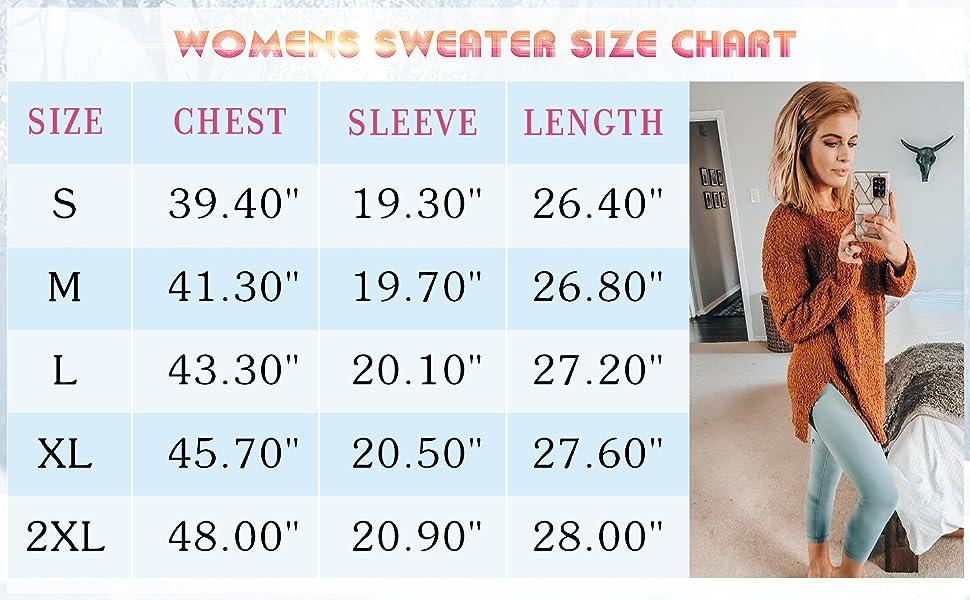 sweater size chart