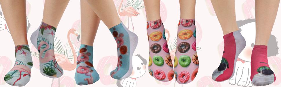 flamingo socks donut socks pug socks