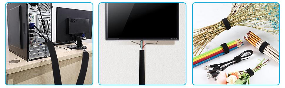 VoJoPi Organizador Cables, 300cm Flexible Funda Cubre Cables de Neopreno +300cm Bridas para Cables,Organizador de Cables de para Recoge TV, PC Cables - Reversible en Blanco y Negro - (∅ 2,5 cm):
