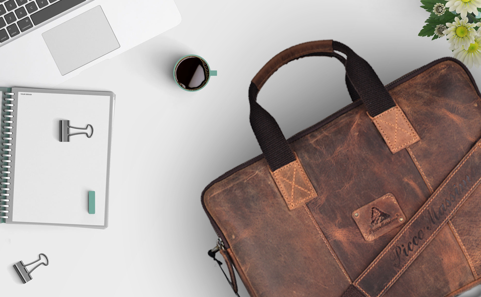 PICCO MASSIMO men's stylish leather laptop bag