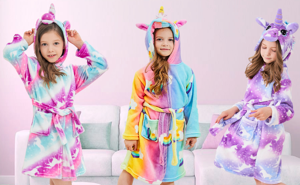 unicorn bathrobe for girls, gift for girls