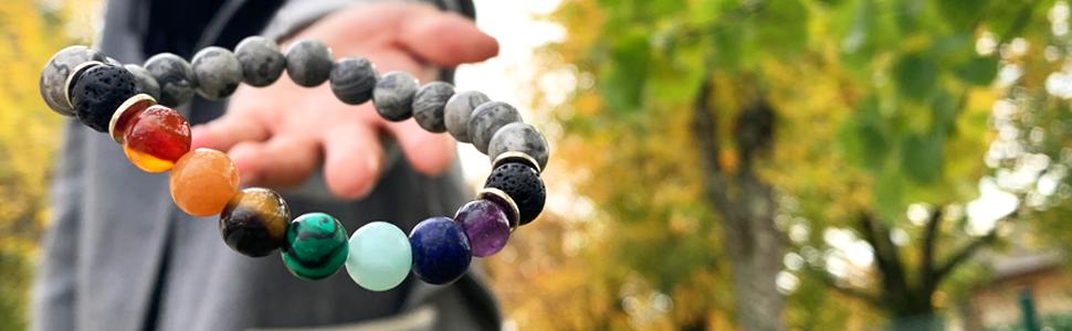 Domog, bracelet pierre naturelle, bracelet 7 chakras, bracelet noir, bracelet homme, bracelet femme