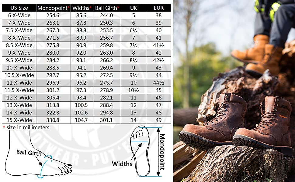 AP155156 Rockrooster logger boots size chart