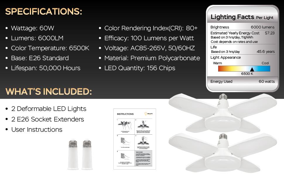 Uplift Lighting 6000 lúmenes Deformable LED Especificaciones y lo que incluye