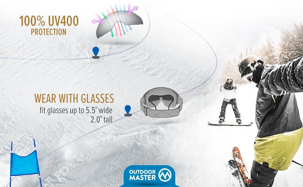 OutdoorMaster Gafas de esqu/í Pro Lente Intercambiable sin Marco 100/% Protecci/ón UV400 Gafas Ski Snowboard for Mujer /& Hombre