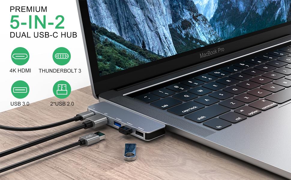 5-IN-2 Dual USB-C Hub