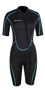 Amazon.com: Mens 3mm Shorty Wetsuit Womens, Premium Neoprene ...