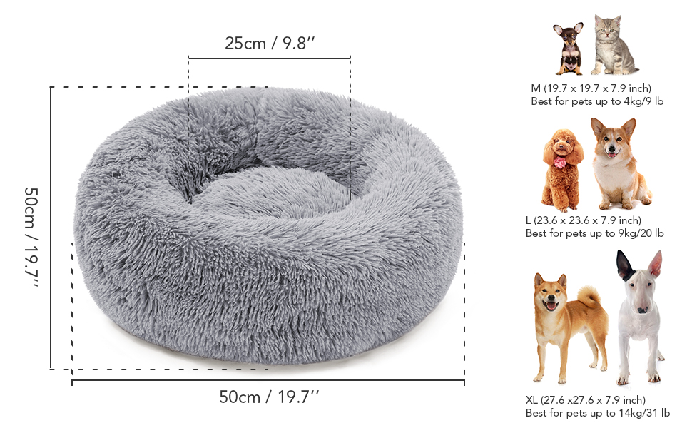 Cnebo Pet Bed Dog Cat Winter Warming Sleeping Bag Calming Bed Soft Fur Round Donut Cuddler Pet Nest Depth Kennel Bed for Small Medium Large Pet