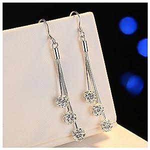 Starchenie Royal Blue//Black Tassel Earrings For Women and Girls,Dangle Earrings Fashion Tassel Threader Earrings