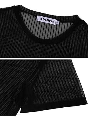 Women's Mesh T-Shirt Short Sleeve Sheer See Through Casual Tee Shirt Tops