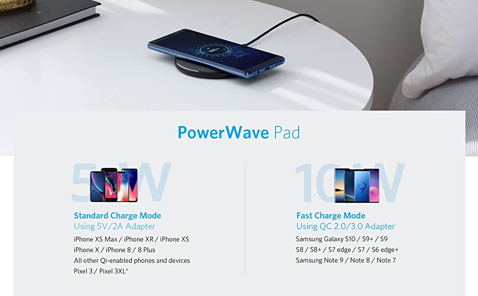 Wireless Charger, Anker 10W Qi-Certified Wireless Charging Pad, Compatible  iPhone Xs Max/XR/XS/X/8/8 Plus, 10W Fast-Charging Galaxy S10/S9/S9+/S8/Note