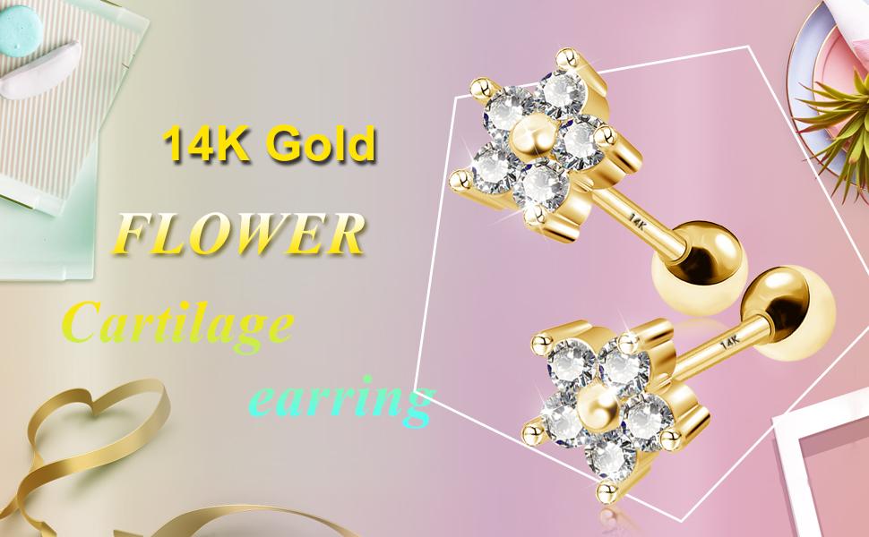 Lobe Tragus 18G 1pcs Cartilage Helix Piercing Earring-16G Conch 14K 18K Solid Gold 4mm Blue Cubic Zirconia Prong Setting Ear Stud