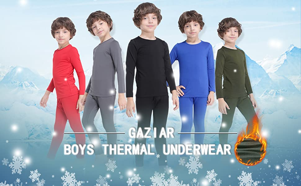 GAZIAR Boys Thermal Underwear Long John Set Ultra Soft Base Layer Kids Long Underwear 2 PCS 3-14Y