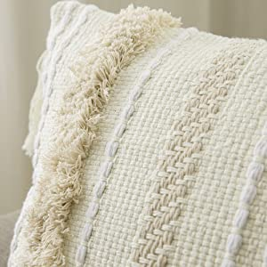 woven tufting pillow sham super fine material beige cream european style for home decor