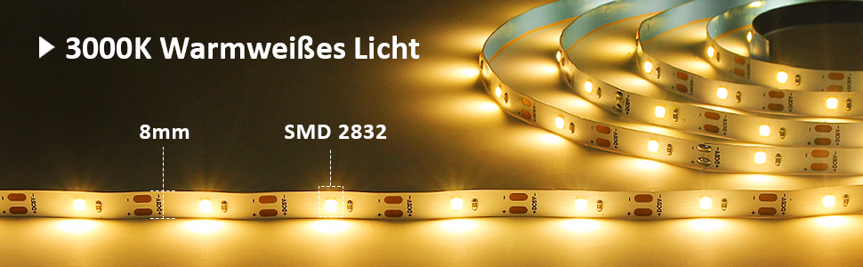6M LED Strip, SMD 2835 LED Streifen, 3000K Warmweiß LED Band Selbstklebend LED Leiste Lichtband