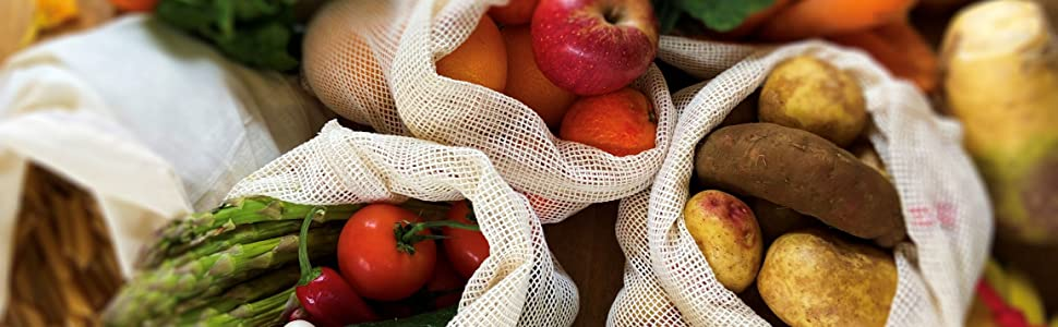 produce bags eco washable vegetables onions tomatoes potatoes apples pasta grains rice nuts