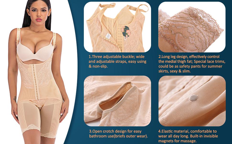 Previn Women Seamless Bodysuit Tummy Control Open Bust Shapewear Slimming Body Shaper