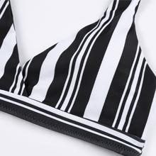 Striped Lace Up Bikini Set Tie Knot High Waist Swimsuit High Leg Cheeky Bathing Suits for Women