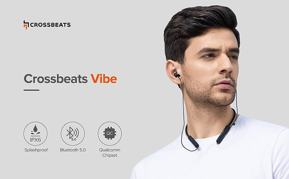 crossbeats wireless bluetooth earphones headphones headset mic noise cancelling deep bass calls gym