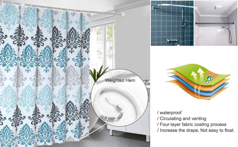 blue curtains for bathroom