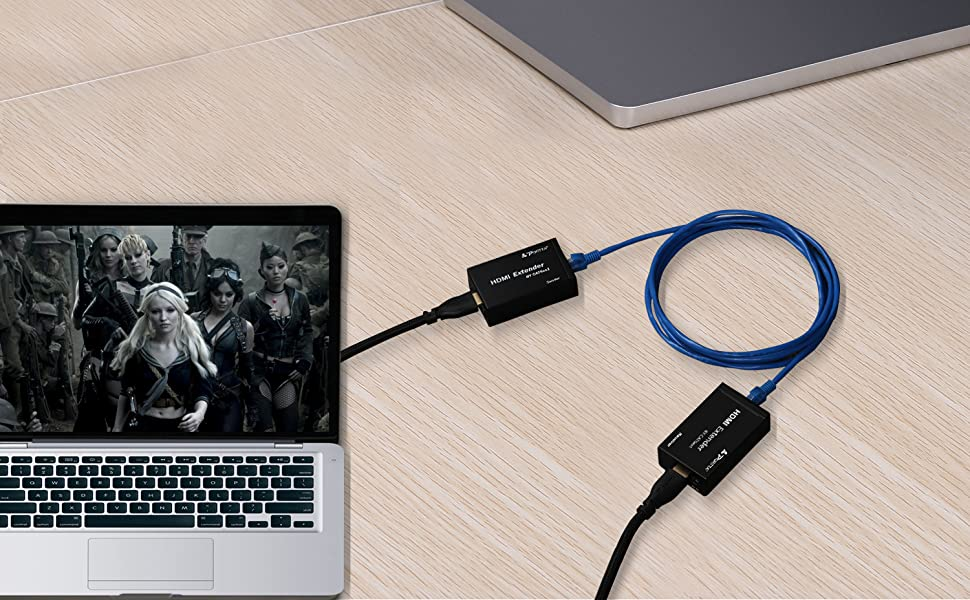 Portta HDMI Extender 50M//165ft Adapter Over 1 Single  CAT5e//CAT6//CAT7 Ethernet Cable support 1080p 3D