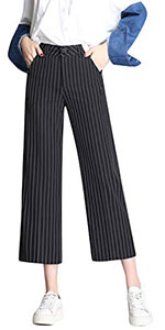 Tanming Women's Casual Stripe High Waist Wide Leg Cropped Pants