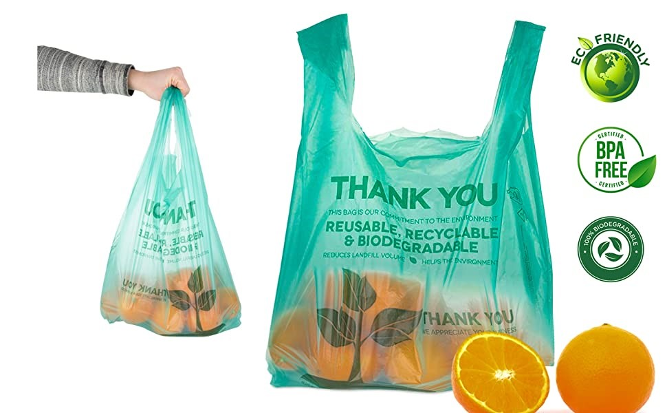 Compostable Bags 100 Count Biodegradable Plastic Grocery Bags - Reusable Supermarket Shopping Bags