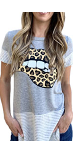 Women Bite Lip Leopard Graphic T-Shirt