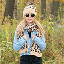 leopard beanie and scarf