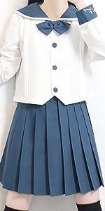 【まるこの猫柳】枝の雪 セーラー服 長袖 青い  本格制服