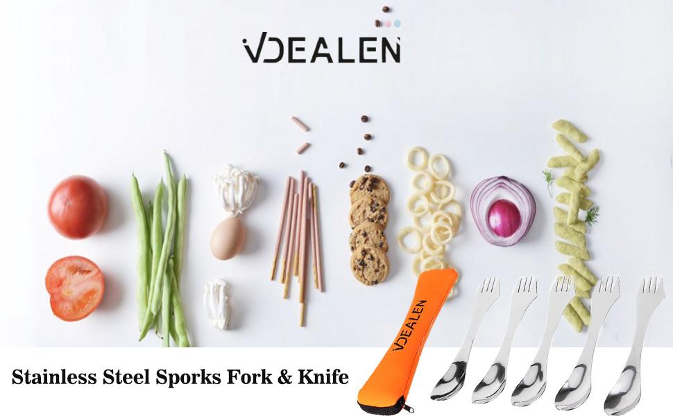 Vdealen Spork Universal - Cubiertos para camping (acero inoxidable, ideal para actividades al aire libre como trekking, camping, senderismo)