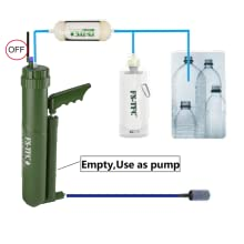 Pump water filter with UF
