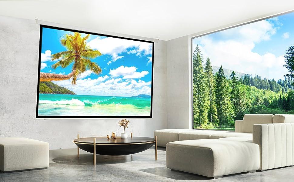 """pantalla para proyector de 60"""" electrica, 4k fullhd, alto brillo, ganancia de contraste, barata"""